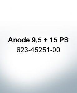 Anoden kompatibel zu Yamaha and Yanmar | Anode 9,5 + 15 PS 623-45251-00 (Zink)