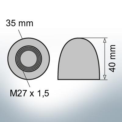 Nut-Caps M27x1,5 Ø35/H40 (Zinc) 2