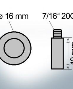 Stiftanoden 7/16'' 20G Ø16/L40 (Zink)