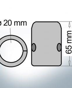 Wellenanode mit metrischem Innendurchmesser 20 mm (AlZn5In)