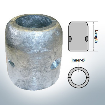 Wellenanode mit metrischem Innendurchmesser 70 mm (Zink)