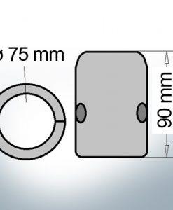 Wellenanode mit metrischem Innendurchmesser 75 mm (AlZn5In)
