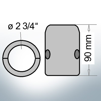 Wellenanoden mit zölligem Innendurchmesser 2 3/4'' (Zink)