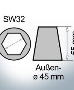 Wellenendanoden mit Innensechskant SW32 (AlZn5In)