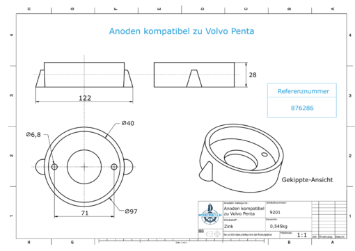 Anodes compatible to Volvo Penta   Ring-Anode Saildrive 120 876286 (Zinc)   9201
