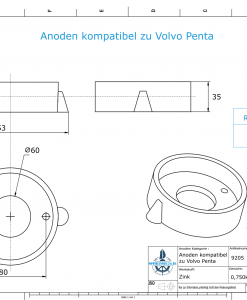 Anodes compatible to Volvo Penta | Ring-Anode 270/280 875815 (Zinc) | 9205