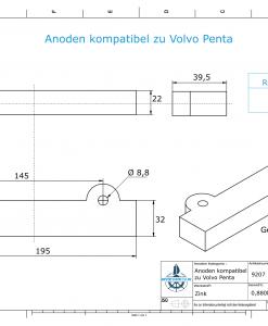 Anodes compatibles avec Volvo Penta | Anodes de bloc 250/270/280 832598 (zinc) | 9207