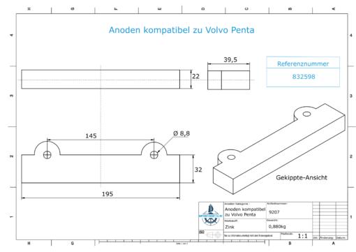 Anodi compatibili con Volvo Penta | Anodes de bloc 250/270/280 832598 (Zinco) | 9207