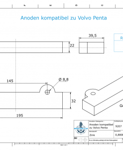 Anodes compatible to Volvo Penta | Block-Anode 250/270/280 832598 (Zinc) | 9207
