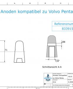 "Anodes compatible to Volvo Penta | Cap-Anode 7/8"" 833915 (Zinc) | 9215"