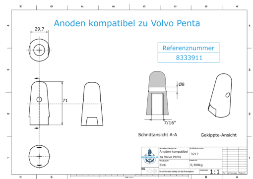 "Anodes compatible to Volvo Penta | Cap-Anode 7/16"" 833911 (Zinc) 