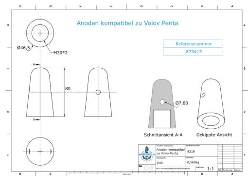 Anodes compatible to Volvo Penta | Cap-Anode M30x2 873415 (Zinc) | 9218
