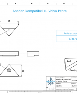 Anodes compatible to Volvo Penta | Lenkgabelanode 872675 (AlZn5In) | 9228AL