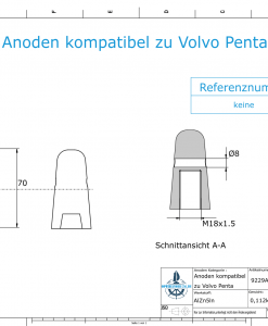 Anodes compatible to Volvo Penta | Cap-Anode M18x1,5 (AlZn5In) | 9229AL