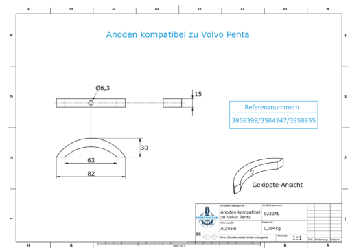 Anodes compatible to Volvo Penta   Propeller-Anode (kit/3 parts)   3858399   3584247   3858955   (AlZn5In)   9230AL