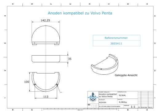 Anodes compatibles avec Volvo Penta   Anodes de bloc Zn + Mg 3855411 (AlZn5In)   9236AL