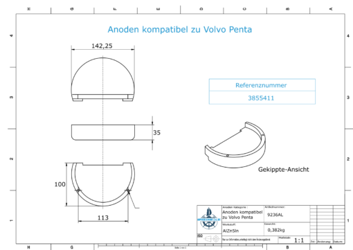Anodes compatible to Volvo Penta | Block-Anode Zn Mg 3855411 (AlZn5In) | 9236AL