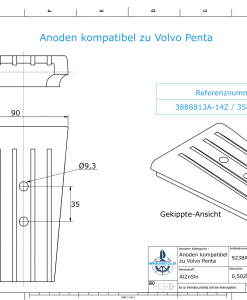 Anodes compatible to Volvo Penta | Engine-Anode | 3588746 | 3888813A 14Z (AlZn5In) | 9238AL