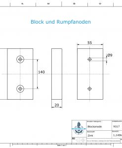 Block- and Ribbon-Anodes Block L180/140 (Zinc) | 9317