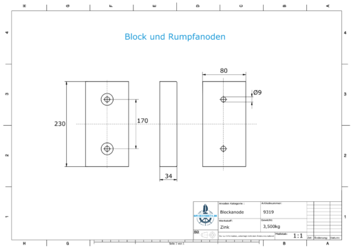 Block- and Ribbon-Anodes Block L230/170 (Zinc) | 9319
