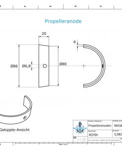 Propeller Anode suitable for Varifold VF 70 (AlZn5In) | 9443AL