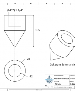 Conical Shaftend-Anode 1 1/4'' Rohr (AlZn5In)   9447AL