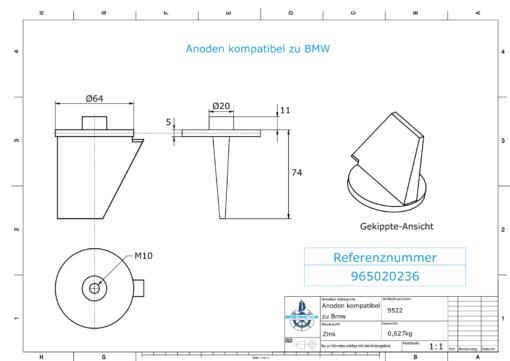 Anodes compatible to BMW | Trimmanode klein 965020236 (Zinc) | 9522