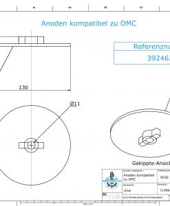 Anodes compatible to Mercury | Trim-Tab-Anode Ev/Jo 316981-1 (Zinc) | 9530