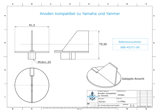 Anodes compatible to Yamaha and Yanmar | Trim-Tab-Anode 85PS 688-45371-00 (AlZn5In) | 9538AL