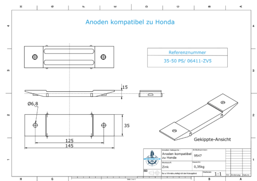 Anodes compatible to Honda | Anode-Block 35-50 PS/06411-ZV5 (Zinc) | 9547