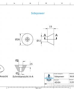 Sidepower 20ø H15 conical Volvo 35 KW (AlZn5In) | 9618AL