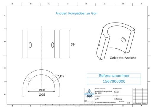 "Anodes compatible to Gori | Saildrive 13""-18""| 2-flg. | 1567000000 | 9632 (Zinc)"