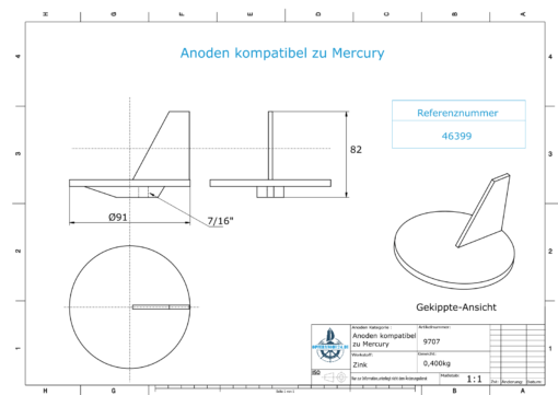 Anodes compatible to Mercury | Trim-Tab-Anode QSS 46399 (Zinc) | 9707