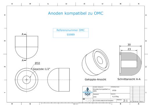 "Anodes compatible to Mercury | Cap-Anode 1/2"" 55989 (Zinc) | 9709"