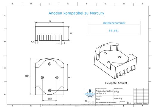 Anodi compatibili con Mercury | Anodes de bloc 821631 (Zinco) | 9712