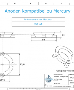 Anodes compatible to Mercury | Ring-Anode 806105 (AlZn5In) | 9717AL