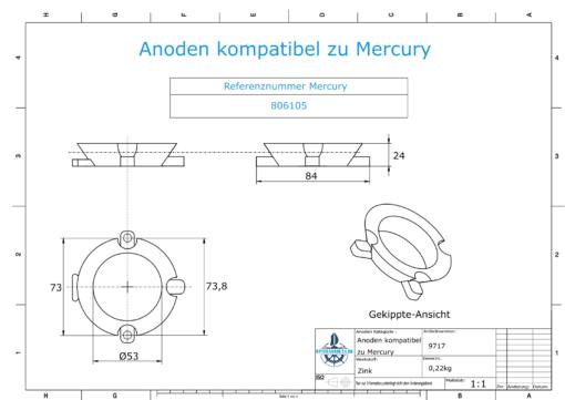 Anodi compatibili con Mercury | Anodo ad anello 806105 (Zinco) | 9717