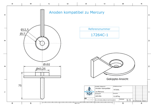 Anodes compatible to Mercury | Trim-Tab-Anode-AB 17264C1 (AlZn5In) | 9720AL