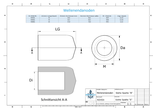 Conical Shaftend-Anode (M30) (AlZn5In) | 9446AL