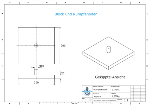 Block- and Ribbon-Anodes Footbridge plate 200x200x20 with M10 (AlZn5In) | 9332AL