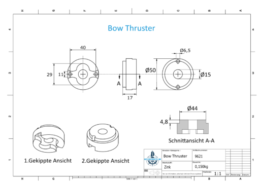 Bow Thruster BP-1126 35-55 Kgf (Zinc) | 9621
