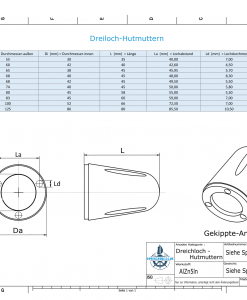 Three-Hole-Caps | suitable for Foldprop Engl. Ø55/H35 (AlZn5In) | 9444AL