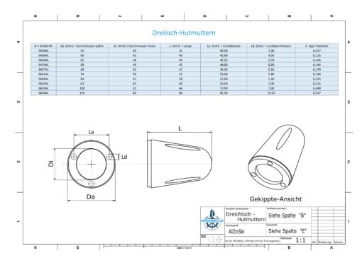 Three-Hole-Caps | Max Prop -70 Ø74/H45 (AlZn5In) | 9601AL