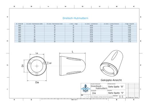 Three-Hole-Caps   Max Prop -70 Ø74/H45 (Zinc)   9601