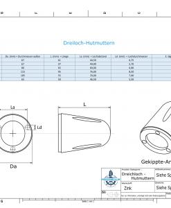 Three-Hole-Caps | suitable for DF-128 Ø105/H55 (Zinc) | 9410