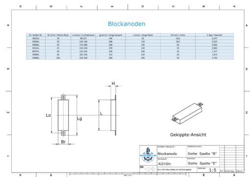 Block- and Ribbon-Anodes Square L290/335 (AlZn5In) | 9309AL