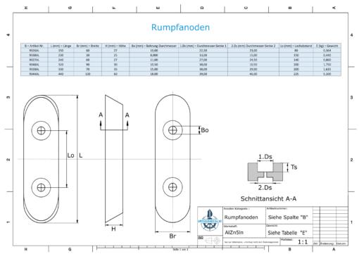 Block- and Ribbon-Anodes Block L150/80 (AlZn5In) | 9326AL