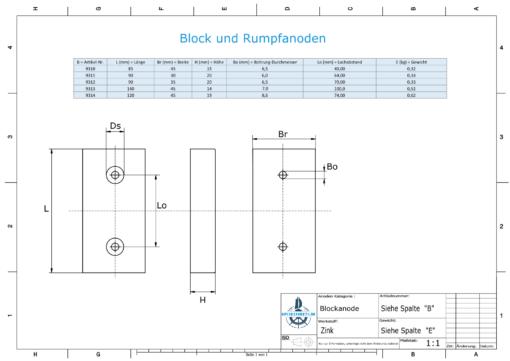 Block- and Ribbon-Anodes Block L140/100 (Zinc) | 9313