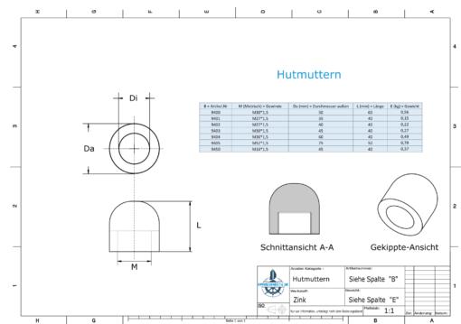 Nut-Caps M30x1,5 Ø45/H40 (Zinc) | 9403