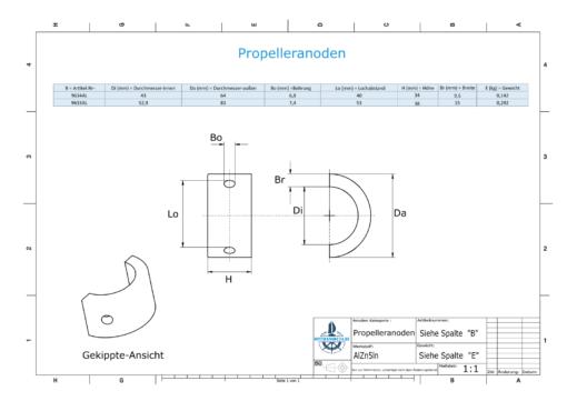 """Anoden compatible zu Gori   Shafting 18"""" - 20""""   3-blade   1553000000   9633AL"""